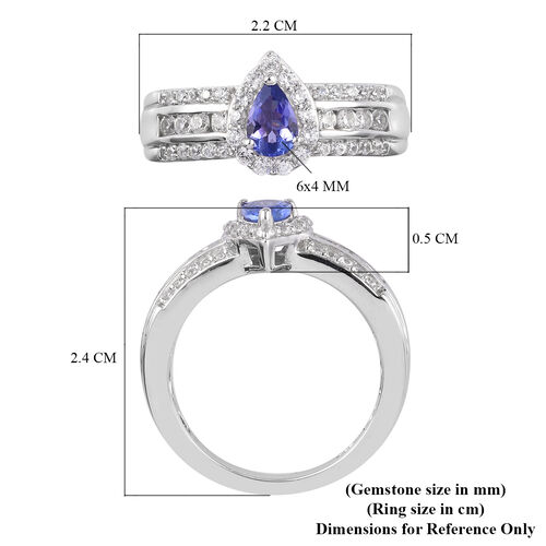 Tanzanite and Natural Cambodian Zircon Ring in Platinum Overlay Sterling Silver 1.25 Ct.