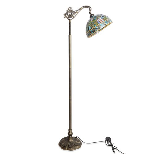 Premium Collection - Tiffany Style Floor Lamp with Handcrafted Stained Glass Floral Design and Adjustable Shade (150 cm Height)