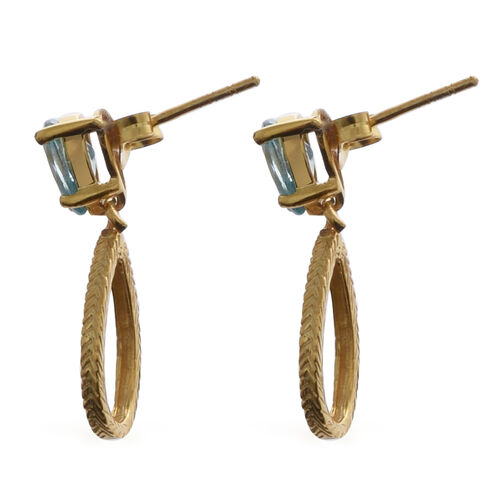 Ratanakiri Blue Zircon Earrings (with Push Back) in Yellow Gold Overlay Sterling Silver 2.20 Ct