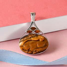 Sajen Silver Tigers Eye and Doublet Quartz Pendant in Platinum Overlay Sterling Silver 22.66 Ct.