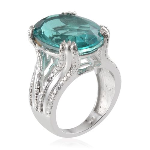 Paraiba Tourmaline Colour Quartz (Ovl 12.70 Ct), Diamond Ring in Platinum Overlay Sterling Silver 12.750 Ct.