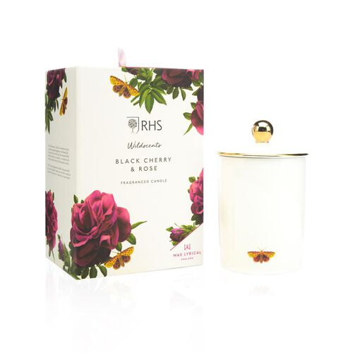 RHS - Wax Lyrical England - Luxury Soy Wax Porcelain Candle - Black Cherry & Rose Scented