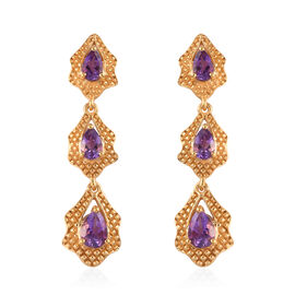 Moroccan Amethyst Dangle Earrings (with Push Back) in 14K Yellow Gold Overlay Sterling Silver 2.79 C