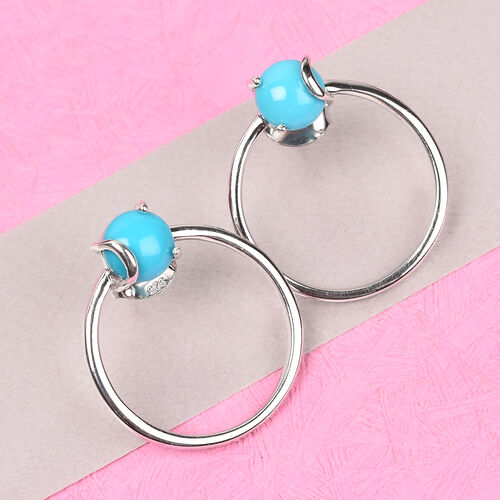 Arizona Sleeping Beauty Turquoise Hoop Earrings (with Push Back) in Platinum Overlay Sterling Silver 1.50 Ct.