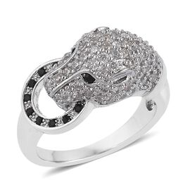 Simulated White Diamond (Rnd), Simulated Black Spinel Leopard Ring in Silver Tone