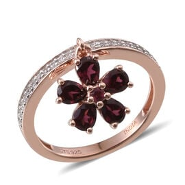 Rhodolite Garnet (Pear), Natural Cambodian Zircon Ring in Rose Gold Overlay Sterling Silver 1.60 cts