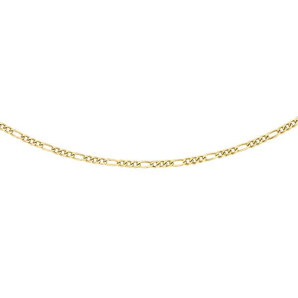 9K Yellow Gold Diamond Cut Figaro Chain (Size 20), Gold wt 1.30 Gms