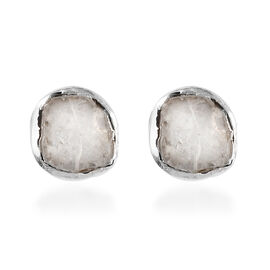 Artisan Crafted Polki Diamond Stud Earrings (with Push Back) in Platinum Overlay Sterling Silver 0.2