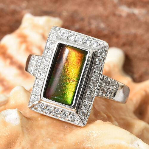 AA Canadian Ammolite (Rectangle 10x5 mm) Natural White Cambodian Zircon Ring in Platinum Overlay Sterling Silver.