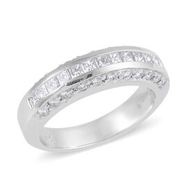 Signature Collection 0.94 Ct Diamond Channel Set Princess Cut Half Eternity Band Ring in 950 Platinu