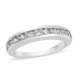 J Francis - Platinum Overlay Sterling Silver (Rnd) Half Eternity Band Ring Made with SWAROVSKI ZIRCO