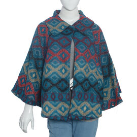 Designer Inspired Green and Multi Colour Geometrical Woven Pattern Jacket Size 115x65 Cm