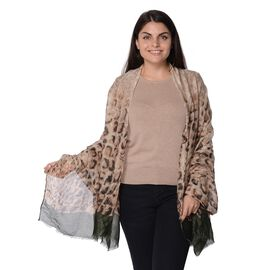 Fashionable Scarf with Short Tassels Leopard Pattern (Size 90x180cm) - Cream, Black and Dark Green