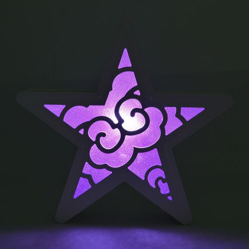 White and Purple Colour Hanging Star with LED Light (Size 30 Cm)