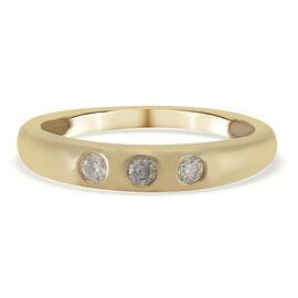 9K Yellow Gold White Diamond Ring in Rhodium Overlay 0.15 ct, Gold Wt. 2.25 Gms 0.150 Ct.