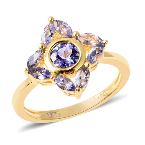 Isabella Liu Floral Collection - Tanzanite Floral Ring in Yellow Gold Overlay Sterling Silver