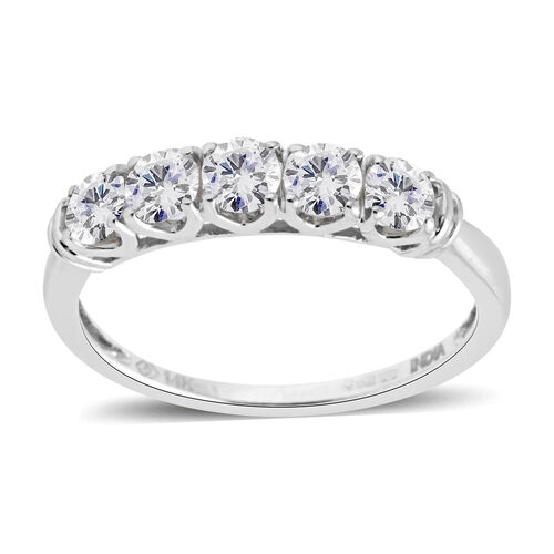 New York Close Out 0.75 Ct Diamond 5 Stone Ring in 14K White Gold 1.8 Grams I1-I2 GH