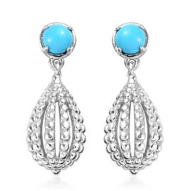 1 Carat Arizona Sleeping Beauty Turquoise Dangle Earrings in Platinum Plated Sterling Silver