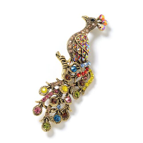 Multi Colour Austrian Crystal (Rnd) Peacock Brooch in Gold Tone