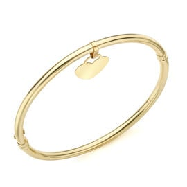 9K Yellow Gold Heart Charm Bangle (Size 7.5), Gold wt 5.20 Gms