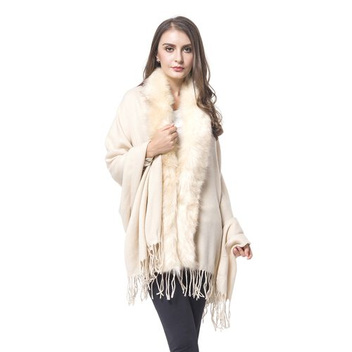 Designer Inspired Faux Fur Trimmed Cape - Cream (One Size)