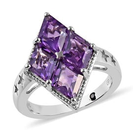 GP - Amethyst and Blue Sapphire Ring in Platinum Overlay Sterling Silver 3.03 Ct.