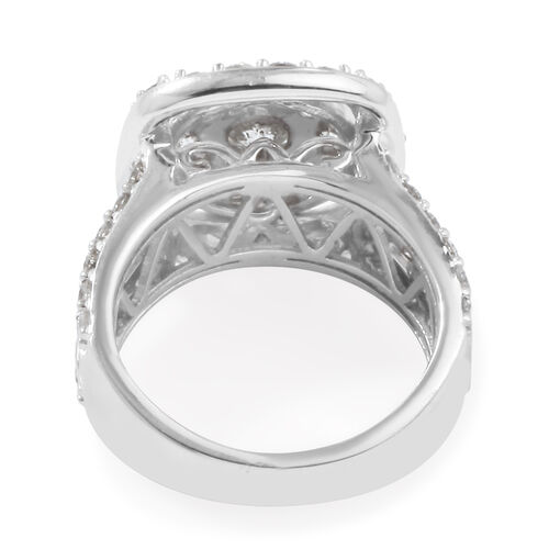 NY Close Out Deal-14K White Gold Diamond (I2 to I3 Clarity and G to H Colour) Cluster Ring 3.53 Ct, Gold wt 9.70 Gms