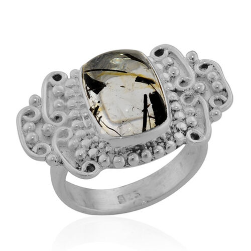 ARTISAN CRAFTED Black Rutile Quartz (Cush) Ring in Sterling Silver 6.500 Ct. Silver wt 7.25 Gms.