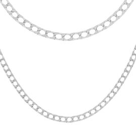 Sterling Silver Diamond Cut Square Curb Chain (Size 16), Silver wt 6.00 Gms