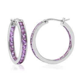 One Time Deal-AAA Pink Sapphire (Rnd) In Out Hoop Earrings (with Clip) in Rhodium Overlay Sterling Silver 3.650 Ct.