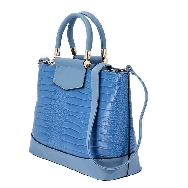 Blue Croc Embossed Tote Bag with Adjustable Shoulder Strap (Size 34x12x25 Cm)