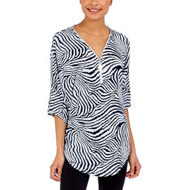 Nova of London - Cream and Black Leopard Print Front Zip Loose Fitting Top (Size S/M, 10-14)
