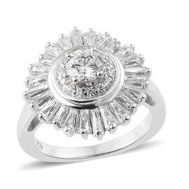 J Francis - Platinum Overlay Sterling Silver (Rnd) Ring (Size P) Made With SWAROVSKI ZIRCONIA