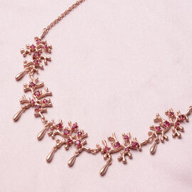 Lucy Q Splash Collection -  African Ruby (FF) Necklace (Size:16 with 4 inch Extender) in Rose Gold Overlay Sterling Silver 2.56 Ct, Silver wt. 18.40 Gms