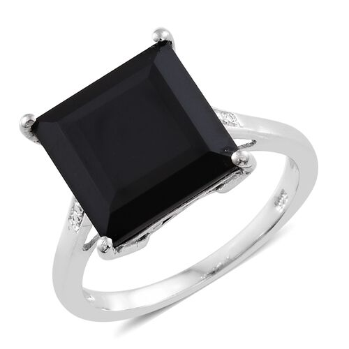 Boi Ploi Black Spinel (Sqr) Solitaire Ring in Platinum Overlay Sterling Silver 9.000 Ct.
