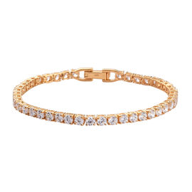 J Francis - 14K Gold Overlay Sterling Silver Tennis Bracelet (Size 8)  Made with SWAROVSKI ZIRCONIA