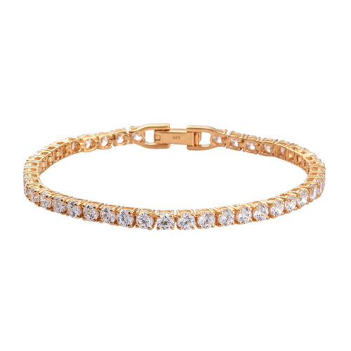 J Francis - 14K Gold Overlay Sterling Silver Tennis Bracelet (Size 8)  Made with SWAROVSKI ZIRCONIA