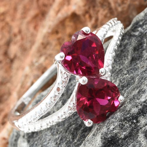 New Arrival - Designer Inspired Heart Cut (7mm) Simulated Ruby Ring in Sterling Silver