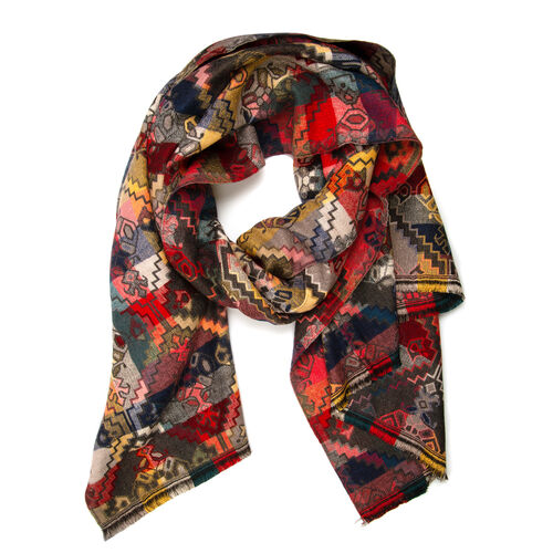 New Season-Dark Grey and Multi Colour Shawl with Rainbow Colour Rhombus and Flower Reversible Pattern (Size 180x65 Cm)