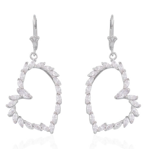 ELANZA AAA Simulated Diamond (Mrq) Heart Lever Back Earrings in Rhodium Plated Sterling Silver.Silver Wt 6.50 Gms