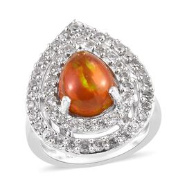 3 Ct Red Ethiopian Opal and Zircon Halo Ring in Platinum Plated Sterling Silver 5 Grams