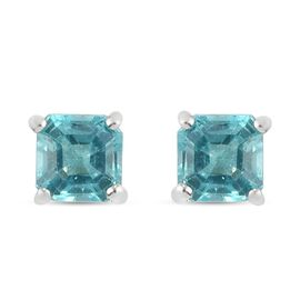 Paraiba Blue Apatite (Very Rare Asscher Cut) Stud Earrings (with Push Back) in Sterling Silver 1.38