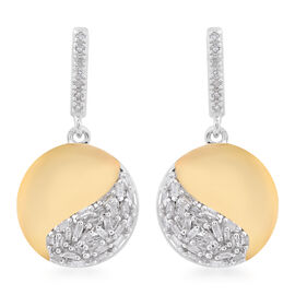 0.33 Ct Designer Inspired Diamond Cluster Drop Earrings in Platinum and Gold Plated Silver