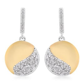 Designer Inspired-Diamond (Bgt) Earrings (with Push Back) in Platinum and Yellow Gold Overlay Sterli