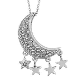 Diamond (Rnd) Star Moon Pendant With Chain (Size 20) in Platinum Overlay Sterling Silver