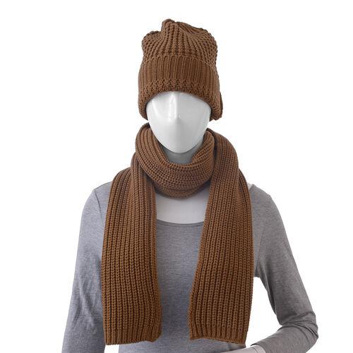 Brown Colour Cap (Size 30x20 Cm) and Muffler (Size 150x25 Cm)