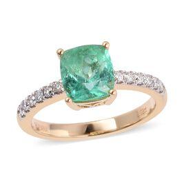 ILIANA 18K Yellow Gold AAA Boyaca Colombian Emerald (Cush) Diamond (SI/G-H) Ring 2.200 Ct.