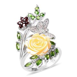 Jardin Collection Mother of Pearl and Multi Gemstone Floral Ring in Rhodium Plated Silver