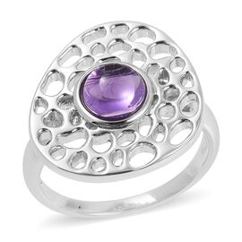 RACHEL GALLEY 1.48 Ct Amethyst Lattice Solitaire Ring in Sterling Silver 6.12 Grams