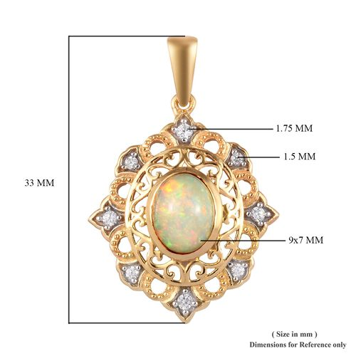 Ethiopian Welo Opal and Natural Cambodian Zircon Pendant in 14K Yellow and White Gold Overlay Sterling Silver 1.50 Ct.